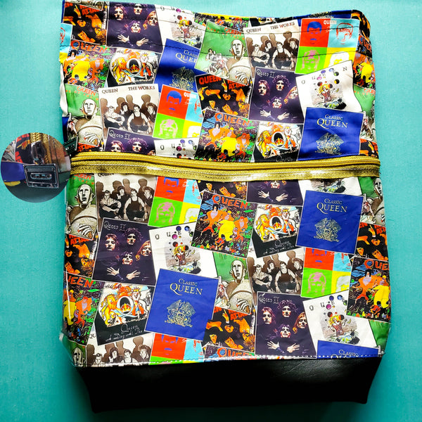 Queen Album Covers, Deluxe Large Bag with Clear zipper pocket
