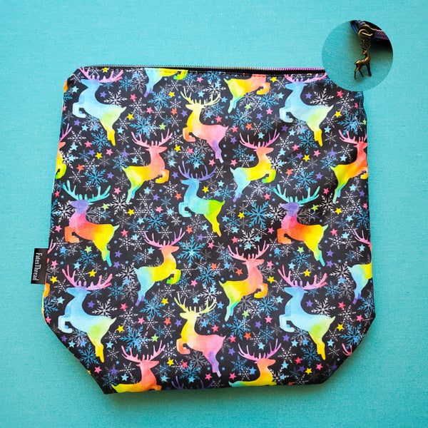 Rainbow Reindeer, small zipper bag