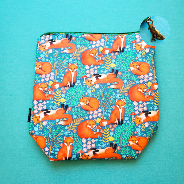 Foxes and Mushrooms, small zipper bag