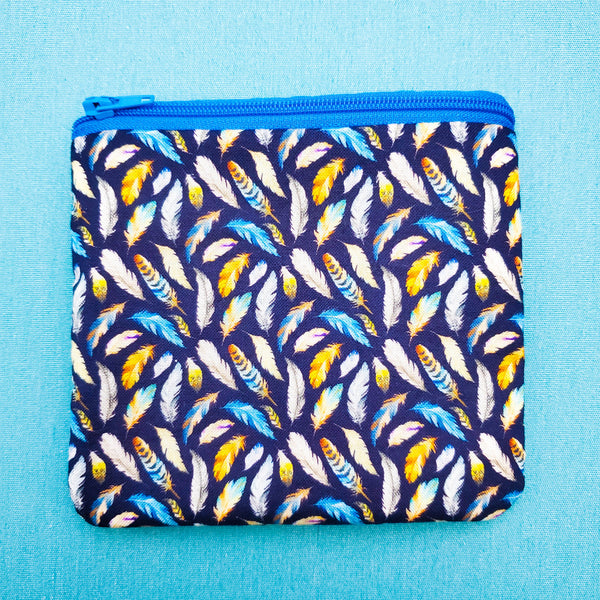 Blue and Yellow Feather, zipper pouch