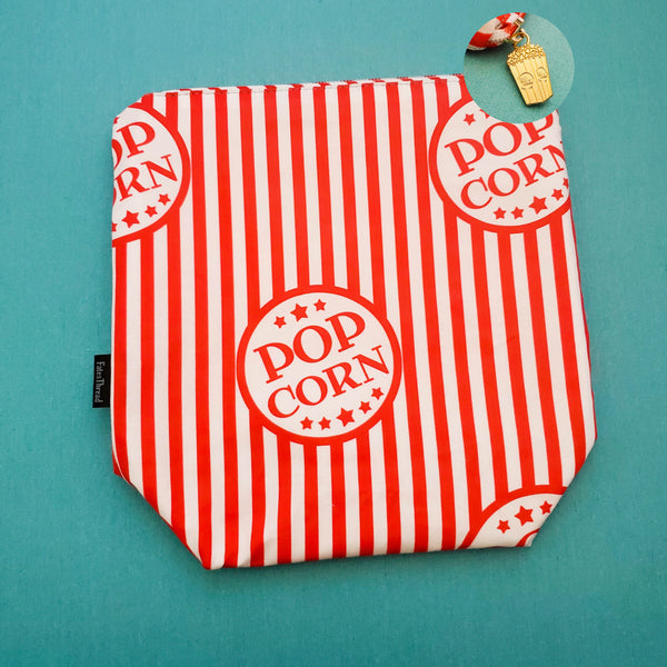 Popcorn Bag, Movie bag, zipper project bag