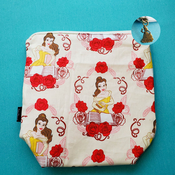 Belle and books, small zipper bag