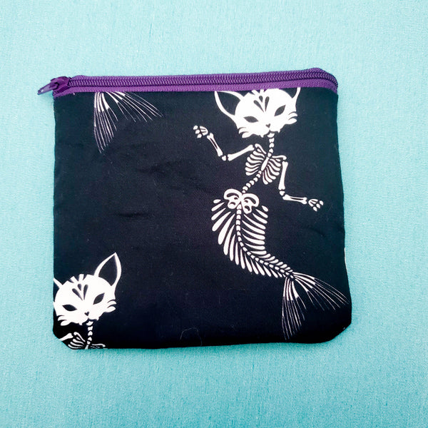 Cat Mermaid Skeleton, Knitting Notion Pouch