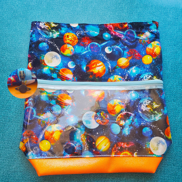 Funky Planets Galaxy, Deluxe Large Bag with Clear zipper pocket