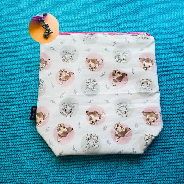 Deer and bunny movie, small zipper bag