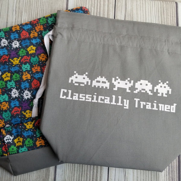 Classically Trained, Knitting Project Bag, vintage game bag