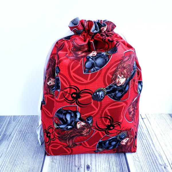 Superhero bag, Knitting project bag, Girl power
