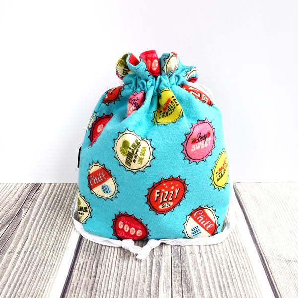 Clearance Retro bottle caps, retro drawstring bag, Knitting Project Bag