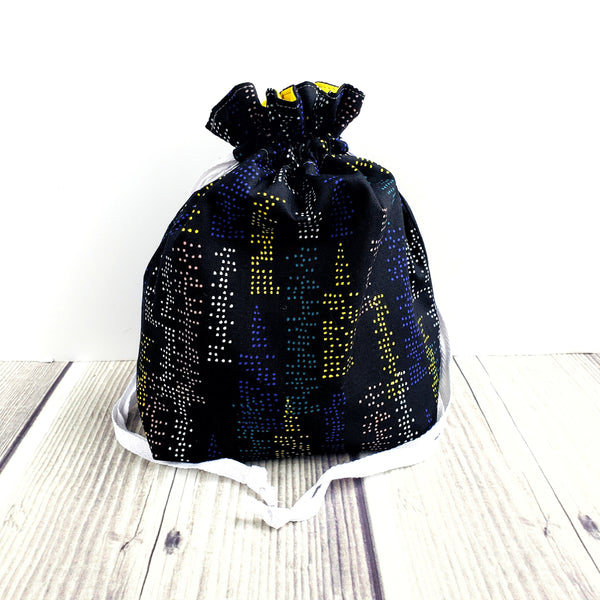 Clearance City bag, Knitting Project Bag, small Drawstring Bag