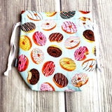 Donut Knitting Project Bag, Drawstring Bag, funny bag