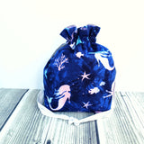 Mermaid bag, salty mermaid bag, Knitting Project Bag