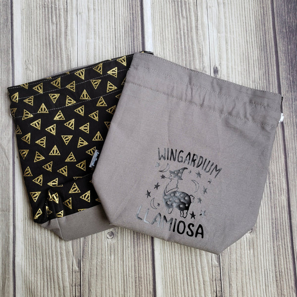 Wingardium Llamiosa, Knitting Project Bag, wizard bag