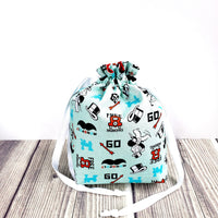 Board game bag, Knitting Project Bag, Drawstring Bag