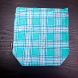 Blue and pink plaid project bag, Knitting Project Bag, plaid bag