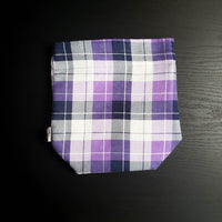 Purple and white , plaid project bag, Knitting Project Bag