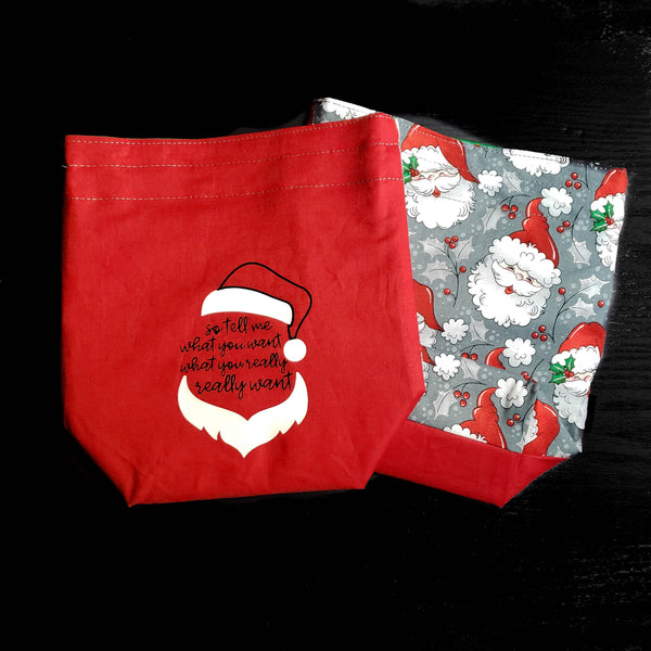 Santa bag, nostalgic bag, Knitting Project Bag