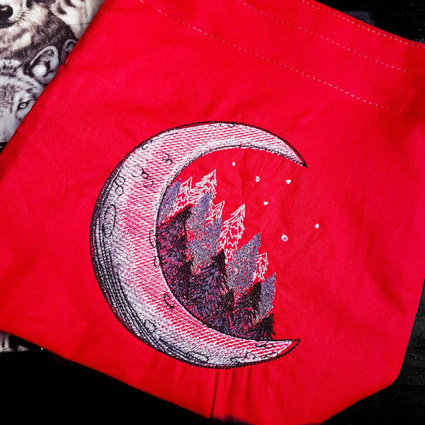 Moon bag, Knitting project bag, Drawstring bag