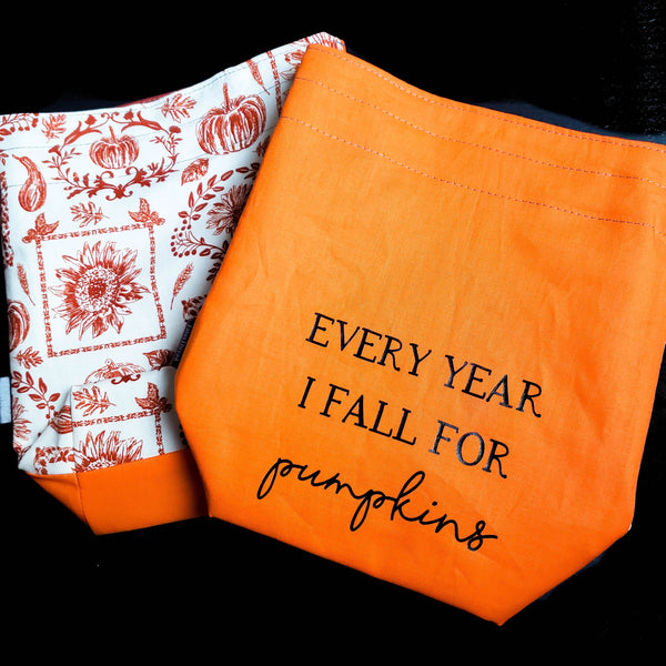Pumpkin bag, Knitting Project Bag, small Drawstring Bag