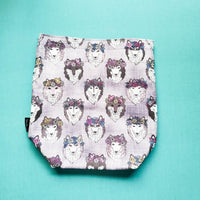 Knitting Project Bag, Husky project bag, flower crown dog