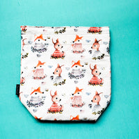 Fox project bag, Knitting Project Bag, Drawstring Bag