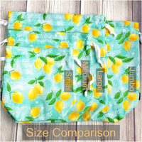 Pineapple bag, tropical bag, Knitting Project Bag