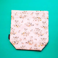 Fox project bag, floral bag, Knitting Project Bag