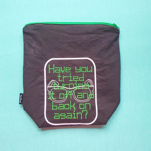 Turn it off andback on, Knitting Project Bag, small zipper bag