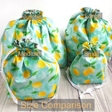 Cupcake bag, Knitting project bag, Drawstring bag