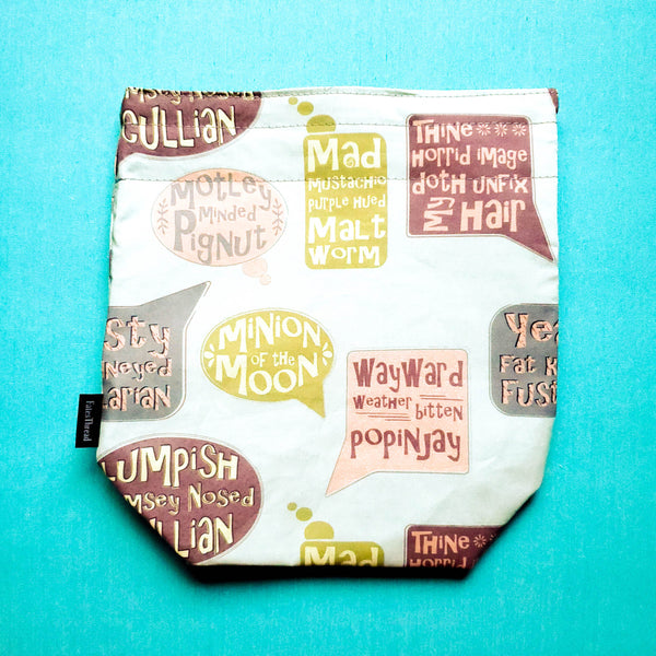 Shakespeare insults bag, Knitting Project Bag, small Drawstring Bag