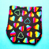 Rainbow heart Knitting Project Bag, Small Sock, small Drawstring Bag
