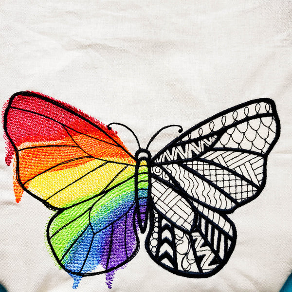 Rainbow butterfly, Knitting Project Bag, small zipper bag