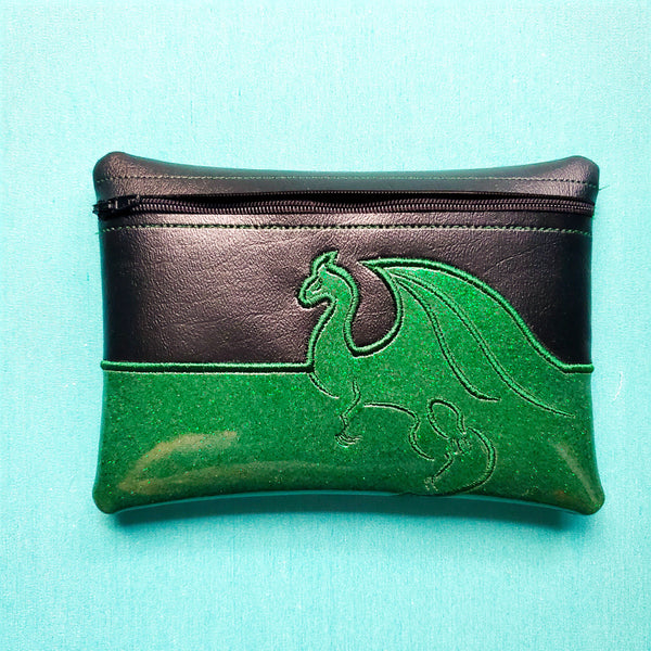 Dragon Notion Pouch, crochet hook case, zipper pouch