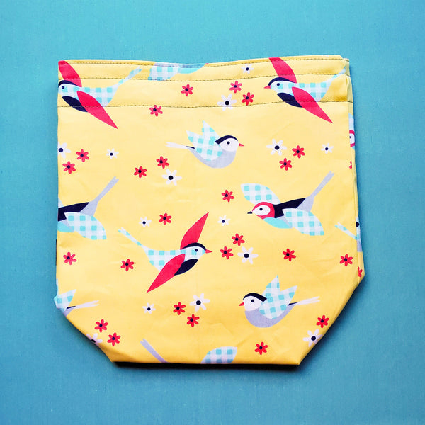 Bird bag, Knitting Project Bag, small Drawstring Bag