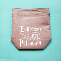 Espresso Patronum, Knitting Project Bag, wizard bag