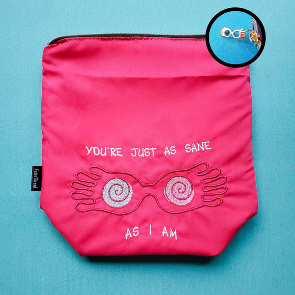Sane as I am bag,  Knitting Project Bag, small zipper bag