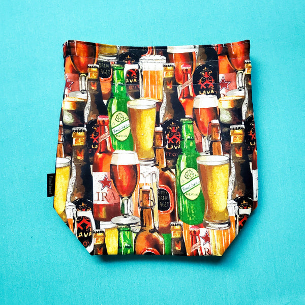 Project bag, Beer Bag, Knitting Project Bag
