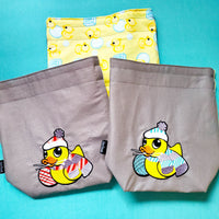 Rubber duck, bag, Knitting Project Bag