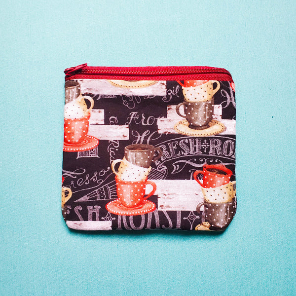 Coffee cup Knitting Notion Pouch, zipper pouch, coin purse