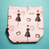 Expert advice Knitting Project Bag, retro ladies, Small Sock