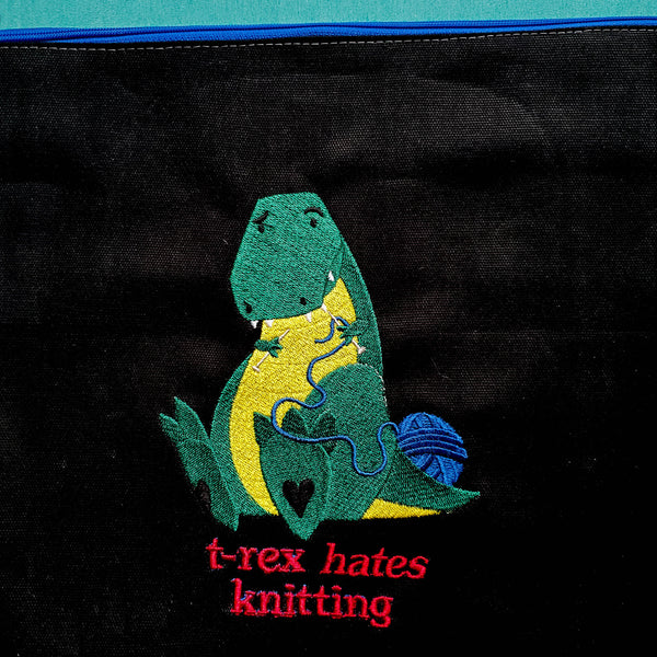 Dinosaur bag,  Knitting Project Bag, small zipper bag