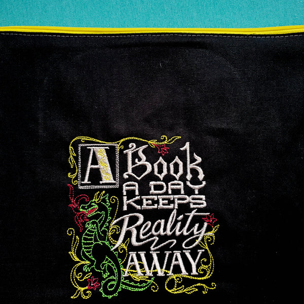 A Book A Day bag,  Knitting Project Bag, small zipper bag