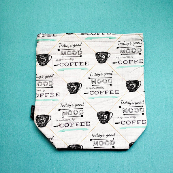 Clearance Coffee lover, Knitting Project Bag, small knitting bag