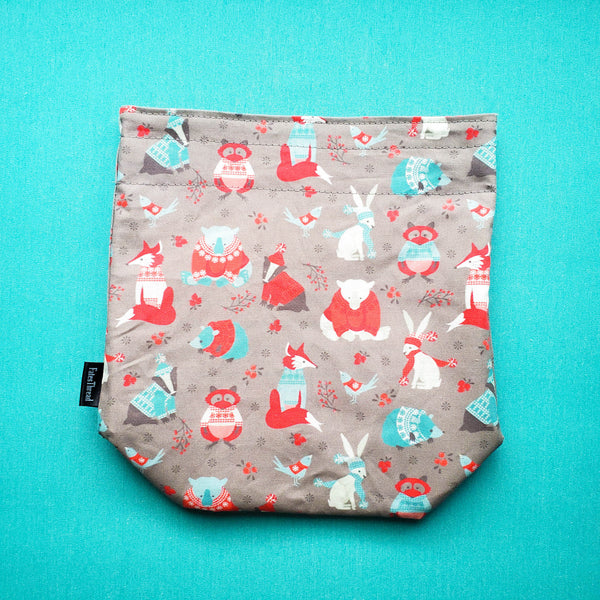 Knitting Project Bag, animal bag, woodland creature bag