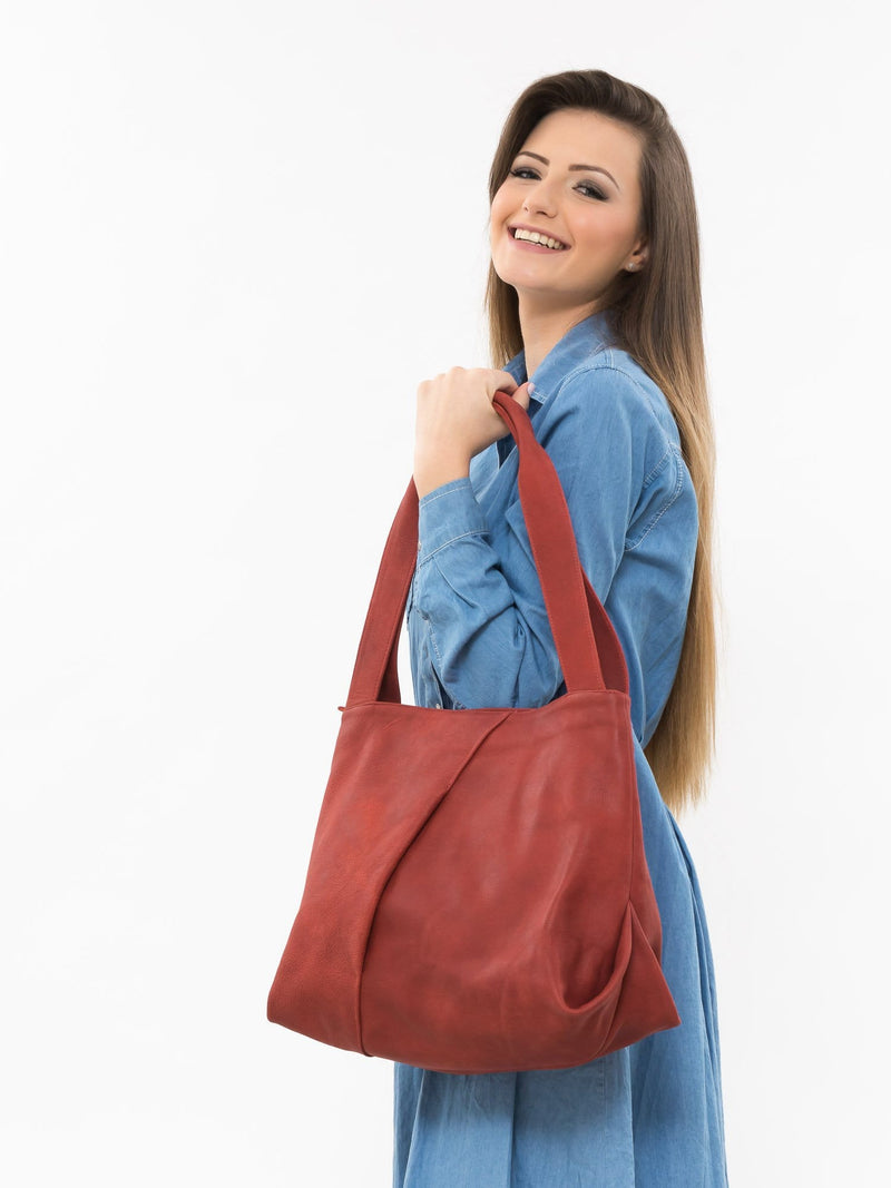 Red Leather Victory Tote