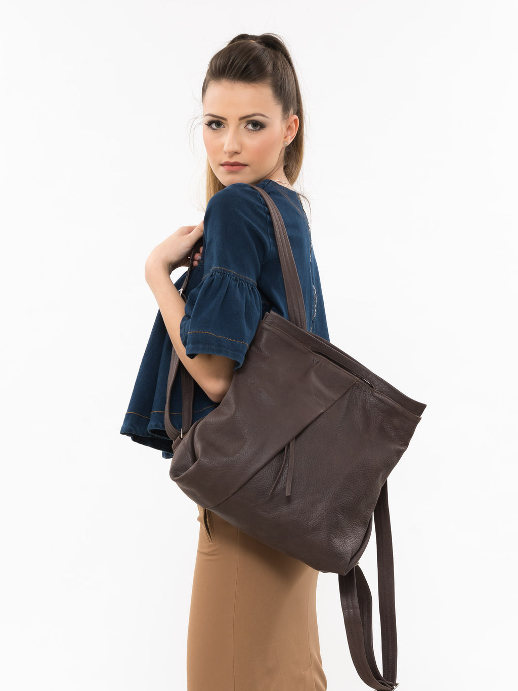 Dark Brown Chestnut Flora Fold Leather Backpack