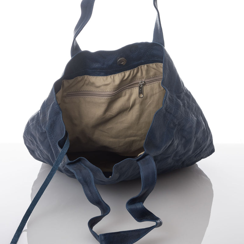 Blue Crushed Leather Tote