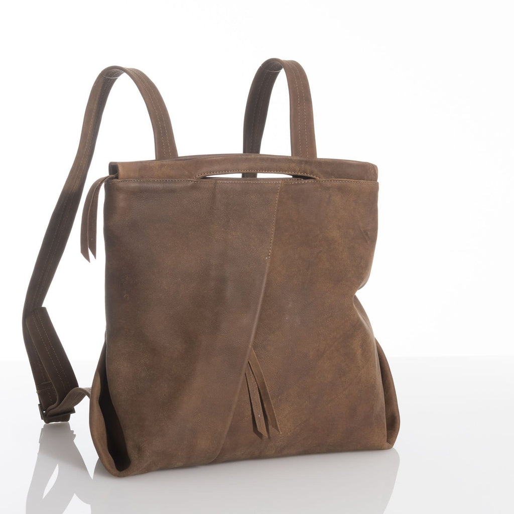 Oak Brown Flora Fold Leather Backpack