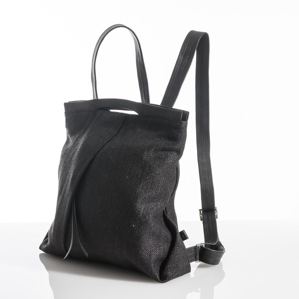 Shiny Black Ani Fold Backpack