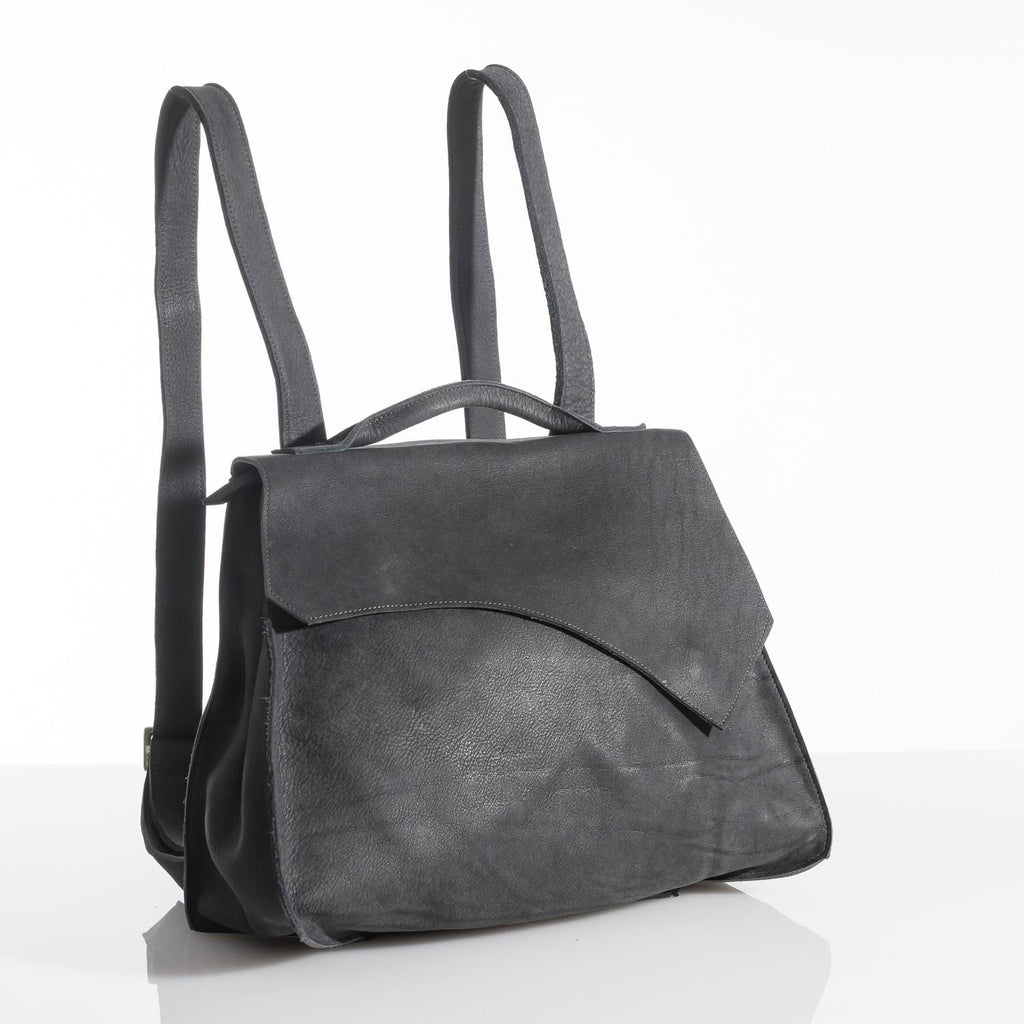 Rustic Leather Rucksack Charcoal Grey