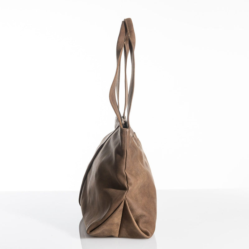 Raw Brown Leather Victory Tote